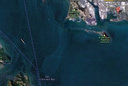 Google earth map of Richmond Marina on San Francisco Bay
