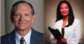 Bill Quirk and Jennifer Ong debate at the League of Women Voters